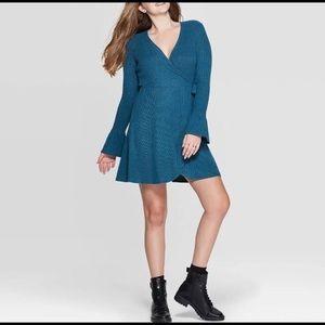 Xhiliration Knit Wrap Dress, Size S